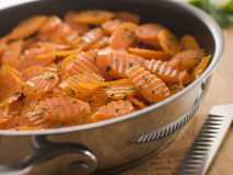 Vichy Carrots in a Saute Pan Royalty Free Stock Images