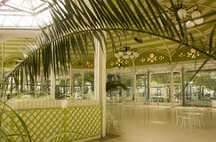 Vichy, France, fontains area. View of the inside of fontains área in the world famous spa city of Vichy, in the center of France. It is the space where someone Royalty Free Stock Photo