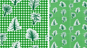 Vichy seamless background with trees. Vector Vichy seamless green background with trees royalty free illustration