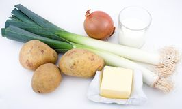 Vichyssoise ingredients. French recipe stock images