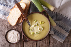 Vichyssoise soup close-up on the table. Horizontal top view Royalty Free Stock Photo