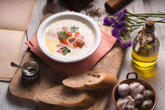 Vichyssoise soup on the white wooden table  horizontal Stock Image