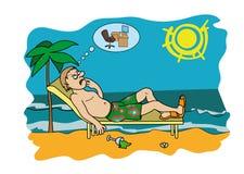 Viciado em trabalho nas férias que preocupam-se sobre o trabalho ilustração stock