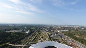 Vicinanza della vista aerea dell'arena dell'Allianz dal fuco fotografia stock libera da diritti