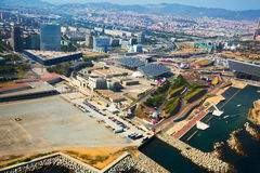 Vicinanze moderne di Barcellona in Spagna, vista aerea fotografie stock