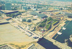 Vicinanze moderne di Barcellona in Spagna, vista aerea fotografia stock