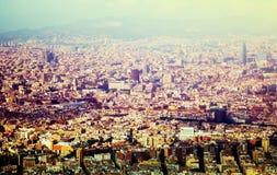 Vicinanze storiche di Barcellona, vista qui sopra fotografia stock