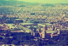 Vicinanze storiche di Barcellona, vista qui sopra immagini stock
