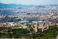 Vicinanze storiche di Barcellona, vista qui sopra immagine stock libera da diritti