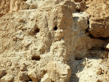 In the vicinity of the Dead Sea. Caves in the rock Royalty Free Stock Photo