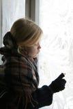 Vicino alla finestra ghiacciata Fotografie Stock