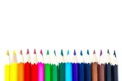Vicino multicolore colorato delle matite su isolato Fotografia Stock