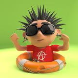 Vicious punk rocker has been saved from drowning with a life ring, 3d illustration. Render royalty free illustration