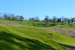 Vicksburg National Battlefield. The undulating terrain at Vicksburg National Military Park in Vicksburg, Mississippi. The Illinois monument and Shirley House can Stock Images