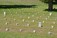 Vicksburg National Cemetery. Gravestones mark the burial place of troops at Vicksburg National Cemetery. The small block markers are unidentified soldiers Royalty Free Stock Photo