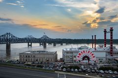 View of the Ameristar casino by the Mississippi River in the city of Vicksburg at sunset. Vicksburg, USA - June 22, 2014: View of the Ameristar casino by the royalty free stock images