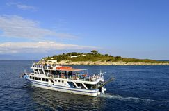 Antipaxos harbour Vicky F2 cruise Ship Royalty Free Stock Photos