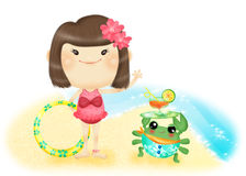 Vicky's holiday. Cute cartoon illustrator girl, suitable for a variety of purposes design Royalty Free Stock Images