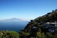 Vico equense view. The view of vesuvius volcano and vico equense in italy Stock Photography