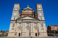 Vicoforte sanktuarium, Cuneo prowincja, Piemonte, Włochy wielka elliptical kopuła w świacie obrazy stock