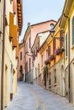 vicoli del villaggio medievale Fotografia Stock