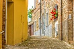 vicoli del villaggio medievale Immagini Stock Libere da Diritti