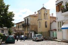 Vicoli ripidi di Kastoria, Grecia Fotografia Stock