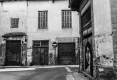 Vicoli scenici nel vecchio centro-B&W della città di Nicosia Fotografia Stock