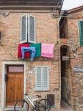 Vicolo Baciadonne en el della Pieve Umbría de Citta Fotografía de archivo libre de regalías