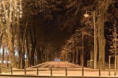 Vicolo dalla città europea, orario invernale di notte, Bucarest Romania Fotografie Stock Libere da Diritti