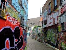 Vicolo dei graffiti a Gand, Belgio Fotografia Stock Libera da Diritti