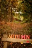 Vicolo del paese in autunno Fotografie Stock Libere da Diritti