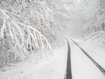 Vicolo del paese dello Snowy Fotografie Stock Libere da Diritti