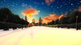 Vicolo del parco, nevicante, fondo di festa illustrazione di stock