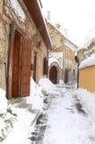 Vicolo di inverno in Gyor Fotografie Stock