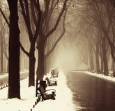 Vicolo di inverno a Odessa, Ucraina. Immagini Stock