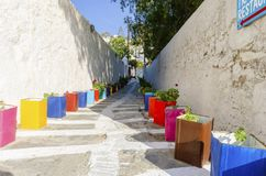 Vicolo di Mykonos, Grecia Immagini Stock