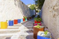 Vicolo di Mykonos, Grecia Immagine Stock Libera da Diritti