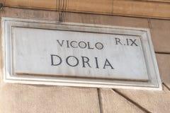 Vicolo Doria street name sign in Rome. Italy, Pigna district very close to Piazza Venezia stock photos