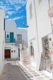 Vicolo greco tradizionale sull'isola di mykonos Fotografie Stock