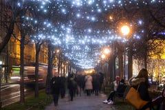 Vicolo illuminato dell'albero piano su Zrinjevac Fotografia Stock Libera da Diritti