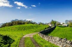 Vicolo inglese del paese che conduce ad una fattoria Fotografia Stock