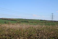 Vicolo lungo Treeton del paesaggio che mostra terreno coltivabile Fotografia Stock Libera da Diritti