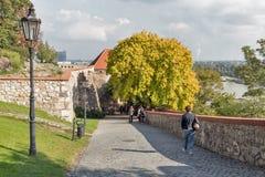Vicolo medievale del castello a Bratislava, Slovacchia Fotografia Stock Libera da Diritti