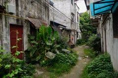 Vicolo non pavimentato verdeggiante fra le costruzioni d'abitazione dilapidate Fotografia Stock Libera da Diritti