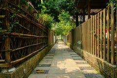 Vicolo ombreggiato fra la costruzione tradizionale cinese recintata dell'abitazione Fotografia Stock