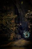 Vicolo scuro della città alla notte Fotografie Stock Libere da Diritti