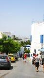 Vicolo in Sidi Bou Said, Tunisia Immagini Stock Libere da Diritti