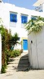 Vicolo in Sidi Bou Said, Tunisia Fotografie Stock