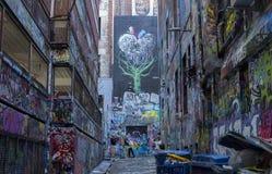 Vicolo urbano Street Art di Melbourne fotografia stock